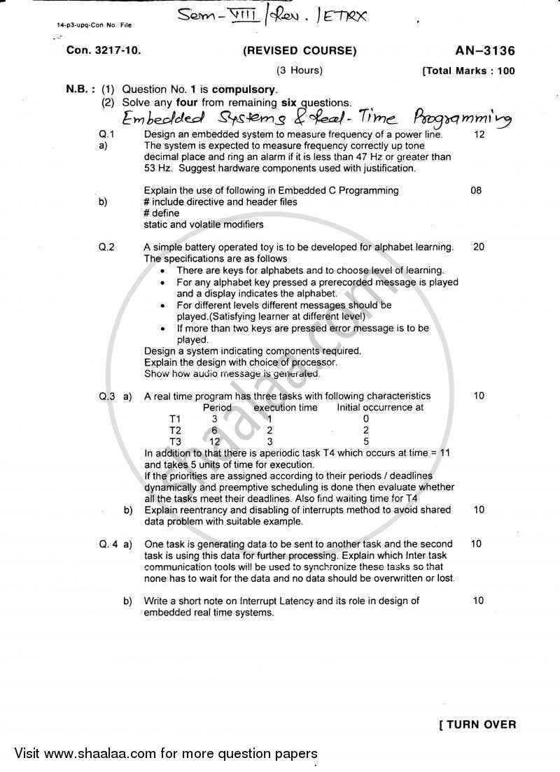 Embedded Systems and Real Time Programming 2009-2010 - B.E. - Semester 8 (BE Fourth Year) - University of Mumbai question paper with PDF download