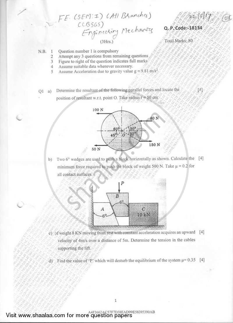 Engineering Mechanics 2016-2017 - B.E. - Semester 1 (FE First Year) - University of Mumbai question paper with PDF download