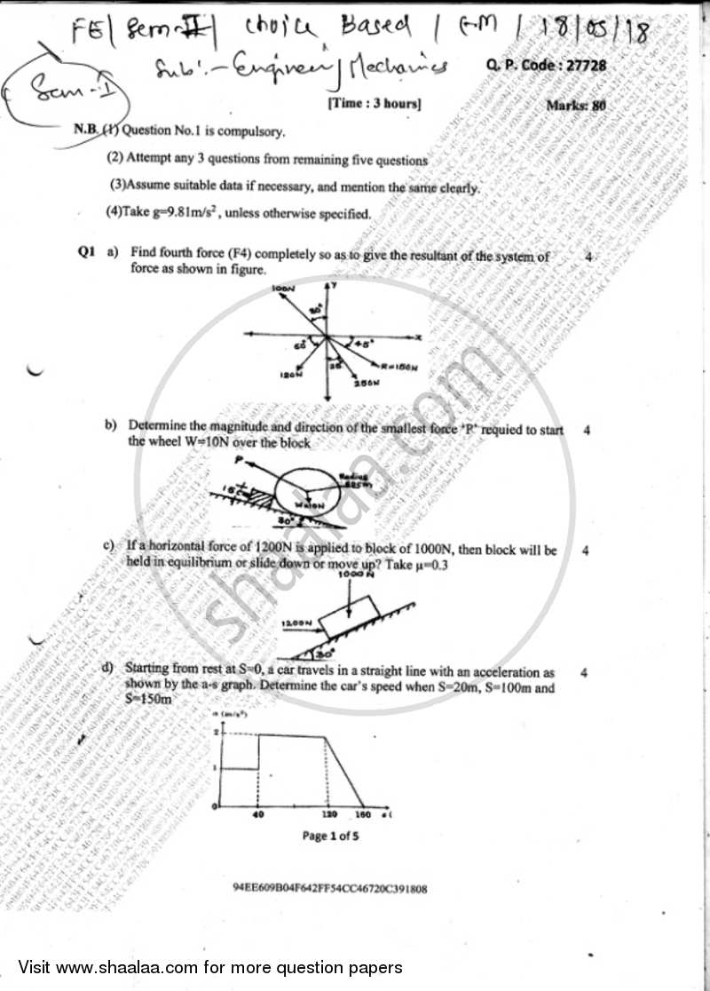 Engineering Mechanics 2017-2018 - B.E. - Semester 1 (FE First Year) - University of Mumbai question paper with PDF download
