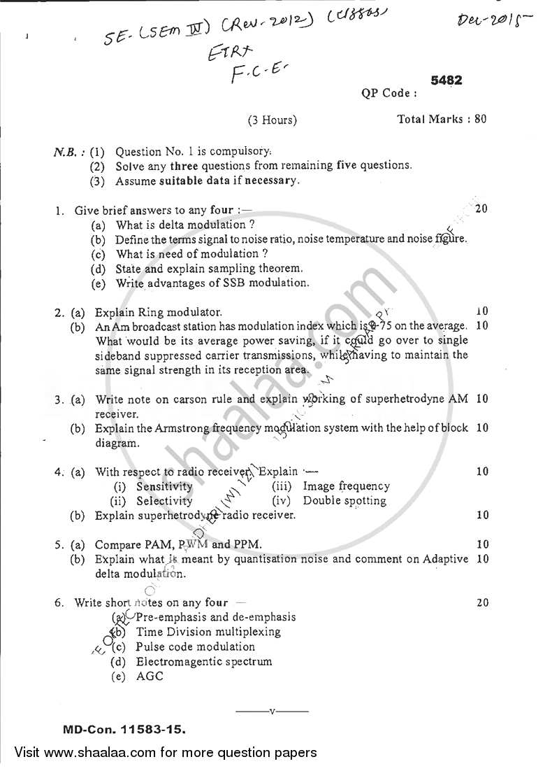 Fundamentals of Communation Engineering 2015-2016 - B.E. - Semester 4 (SE Second Year) - University of Mumbai question paper with PDF download