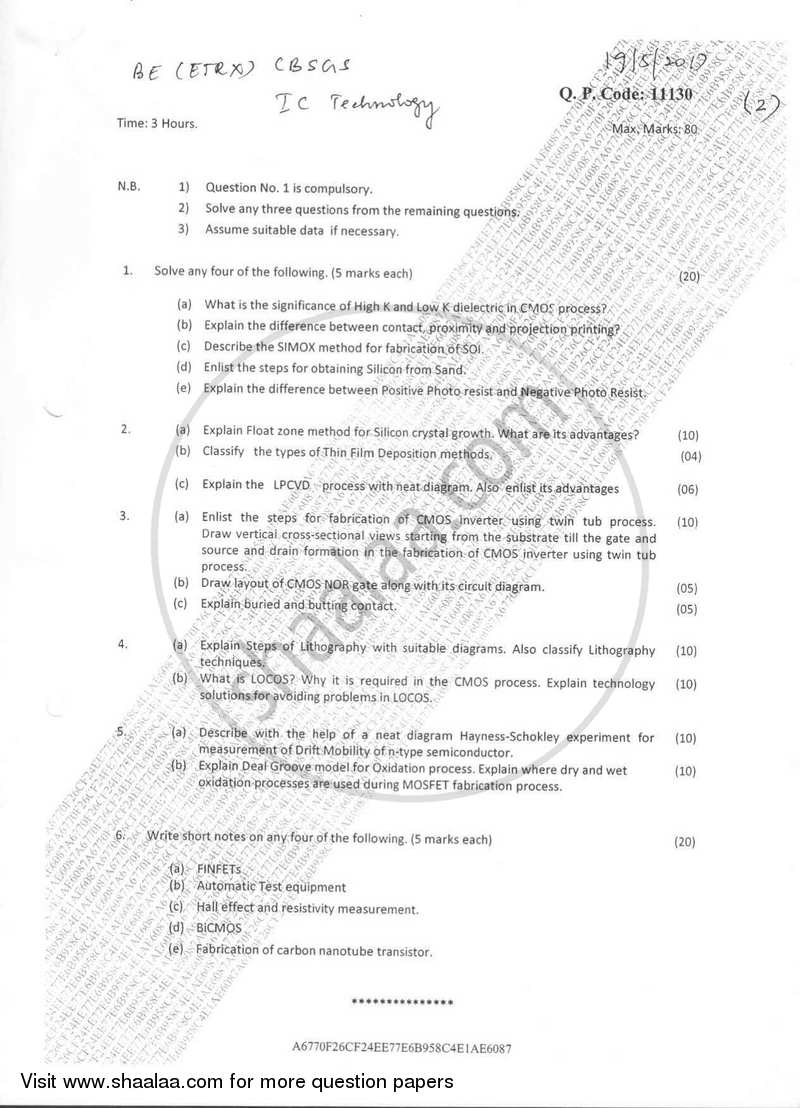 IC Technology 2016-2017 - B.E. - Semester 7 (BE Fourth Year) - University of Mumbai question paper with PDF download