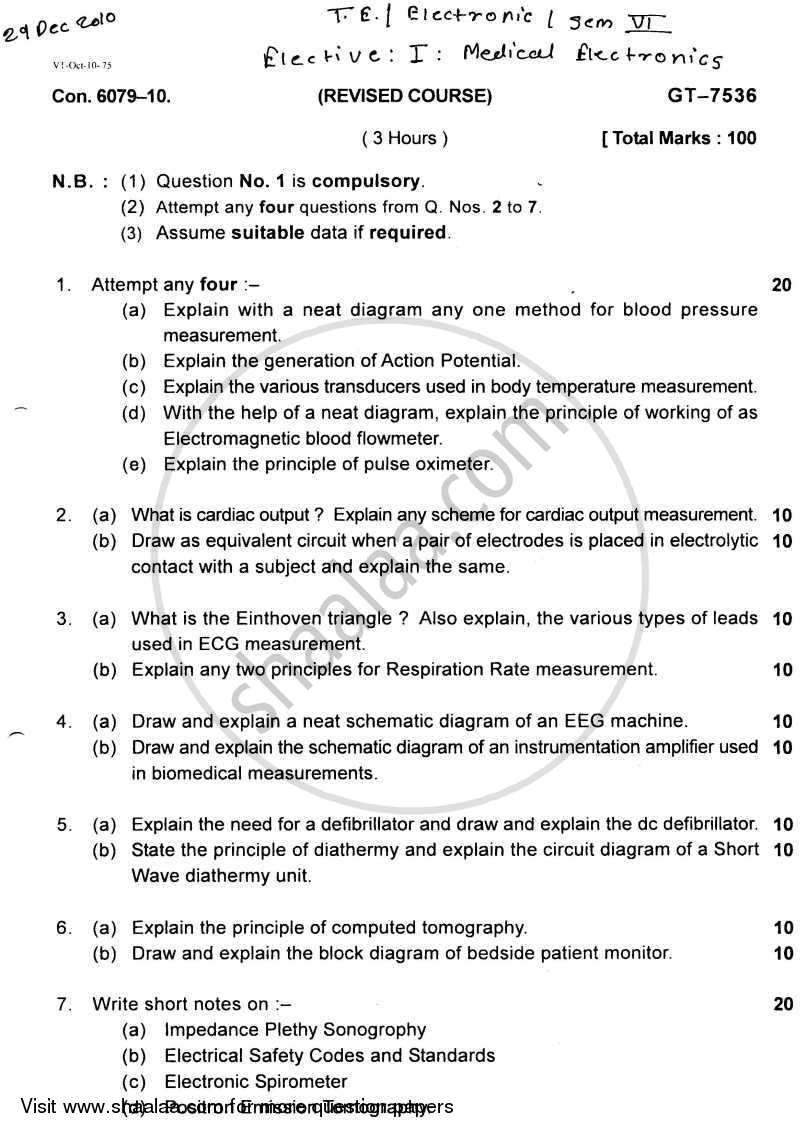 Medical Electronics 2010-2011 - B.E. - Semester 6 (TE Third Year) - University of Mumbai question paper with PDF download