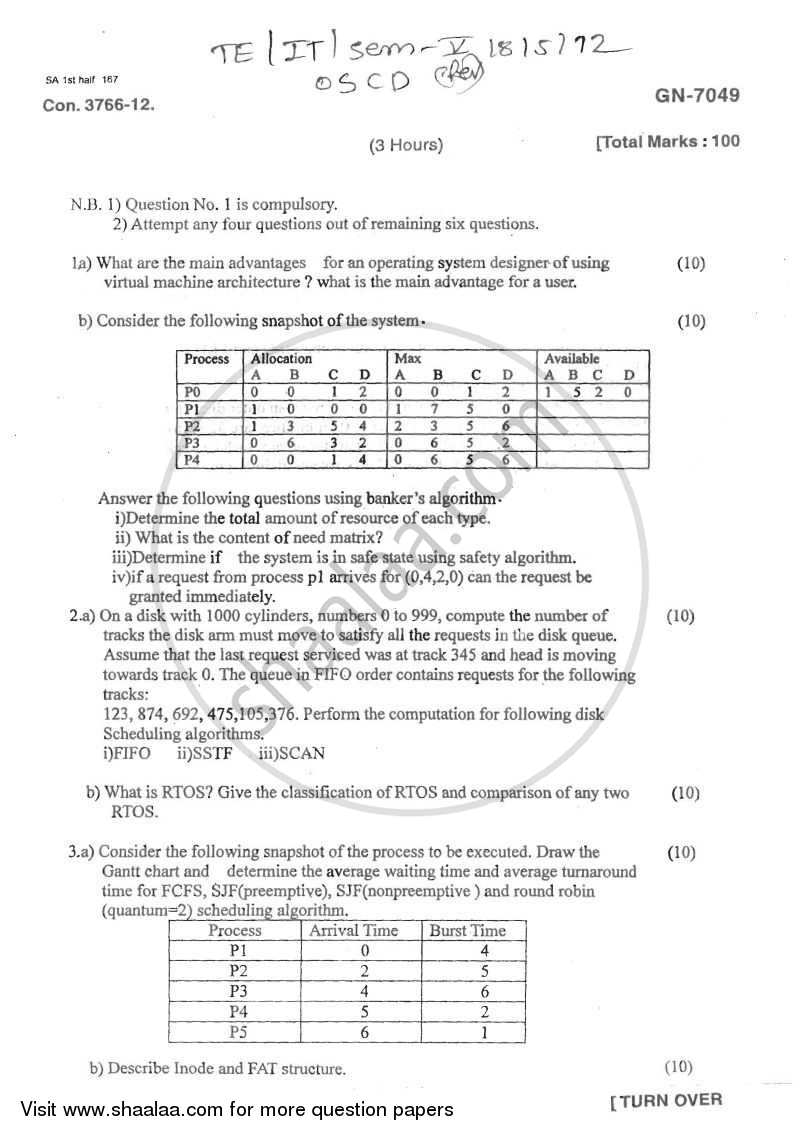 Operating System for Computational Devices 2011-2012 - B.E. - Semester 5 (TE Third Year) - University of Mumbai question paper with PDF download