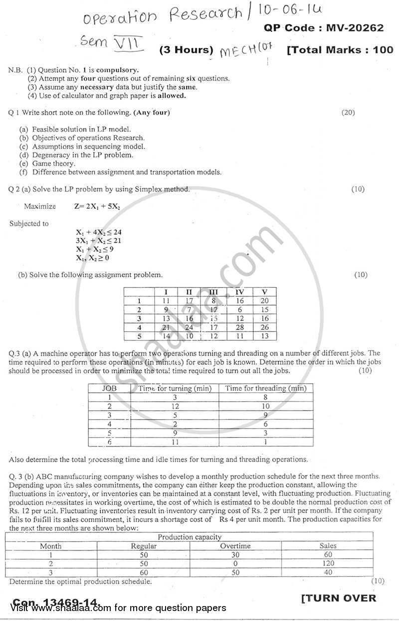 Operations Research 2013-2014 - B.E. - Semester 7 (BE Fourth Year) - University of Mumbai question paper with PDF download