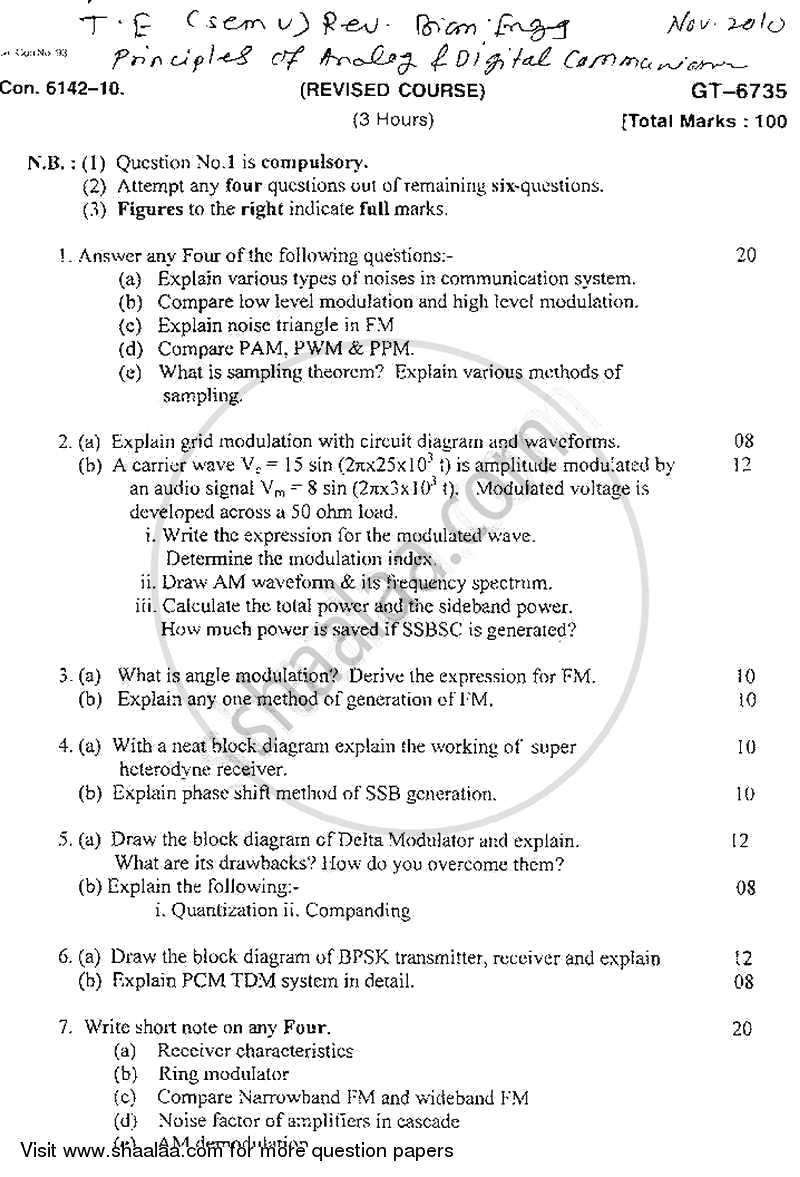 Principes of Analog and Digital Communication 2010-2011 - B.E. - Semester 3 (SE Second Year) - University of Mumbai question paper with PDF download