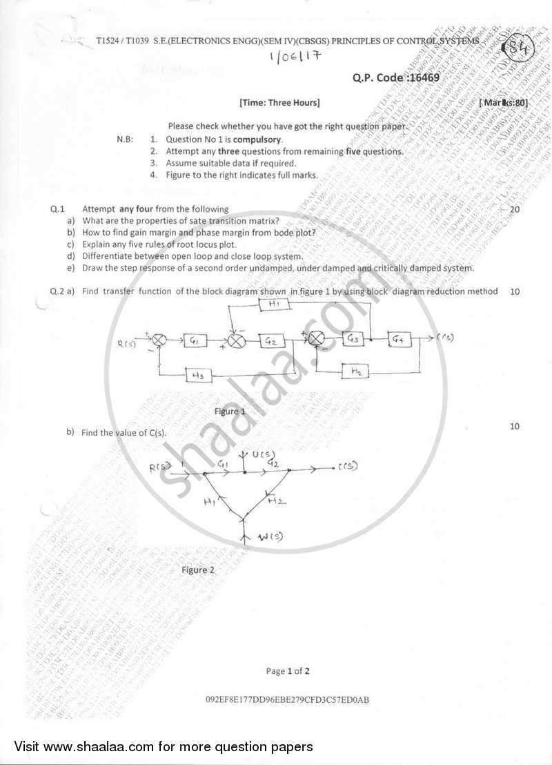 Principles of Control Systems 2016-2017 - B.E. - Semester 4 (SE Second Year) - University of Mumbai question paper with PDF download