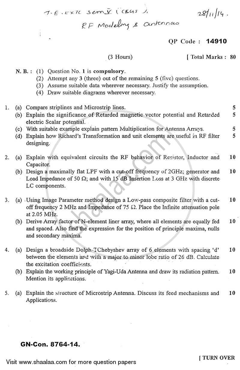 RF Modelling and Antennas 2014-2015 - B.E. - Semester 5 (TE Third Year) - University of Mumbai question paper with PDF download