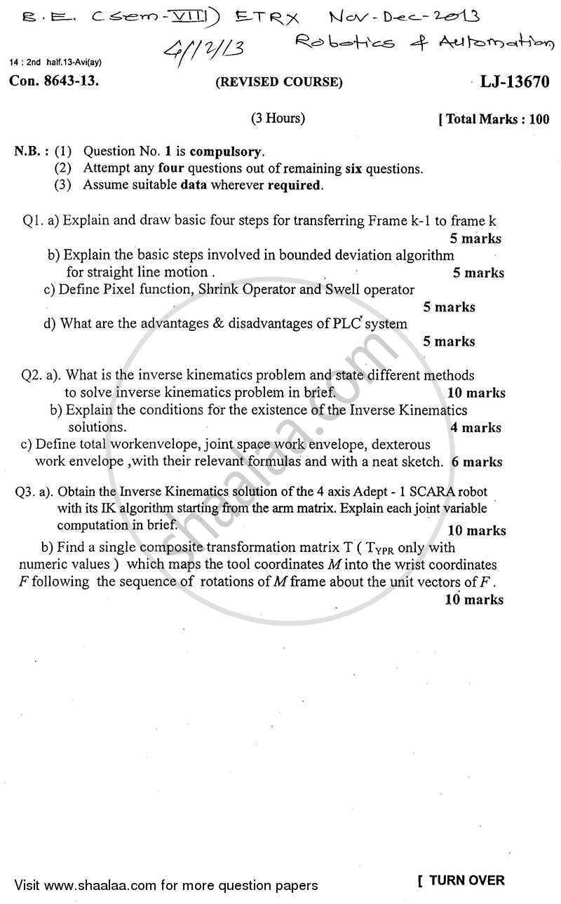 Robotics and Automation 2013-2014 - B.E. - Semester 8 (BE Fourth Year) - University of Mumbai question paper with PDF download