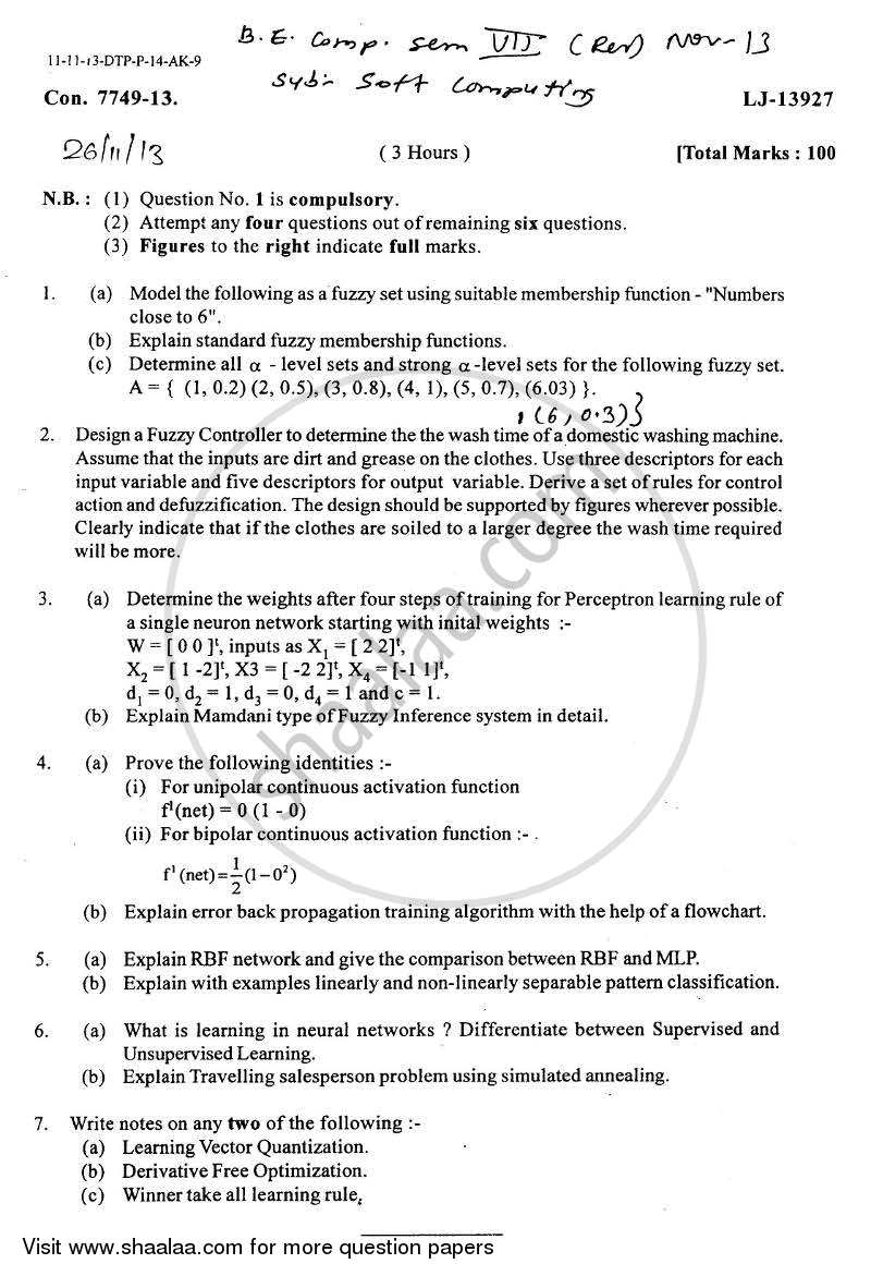 Soft Computing 2013-2014 - B.E. - Semester 7 (BE Fourth Year) - University of Mumbai question paper with PDF download