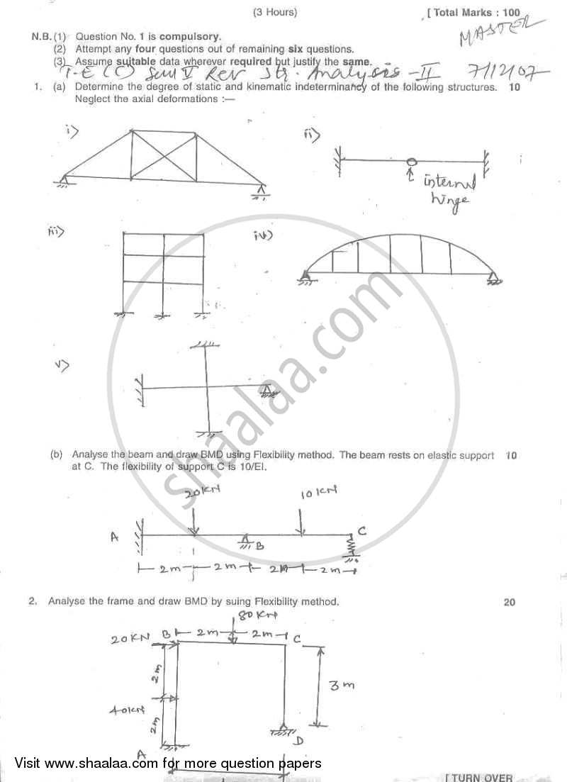 Structural Analysis 2 2007-2008 - B.E. - Semester 5 (TE Third Year) - University of Mumbai question paper with PDF download
