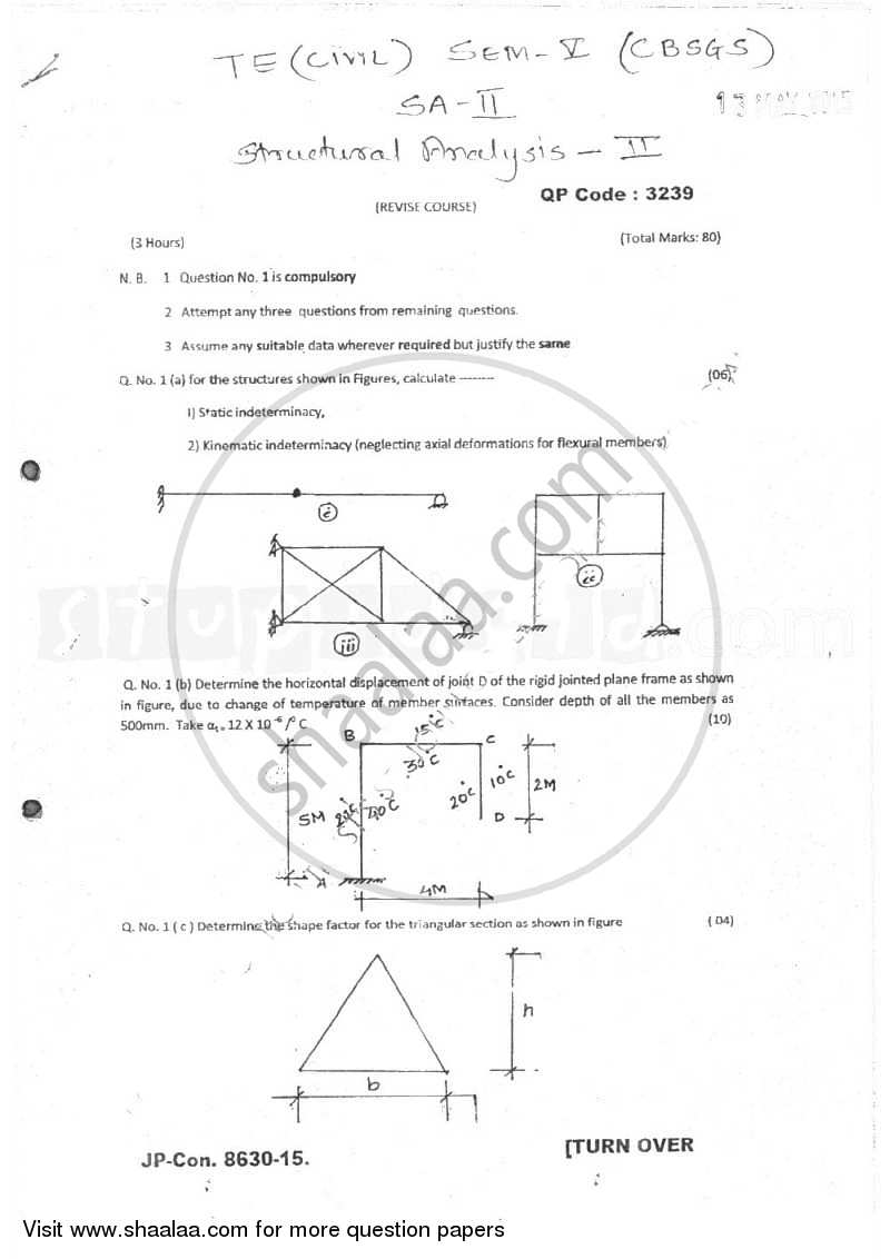 Structural Analysis 2 2014-2015 - B.E. - Semester 5 (TE Third Year) - University of Mumbai question paper with PDF download