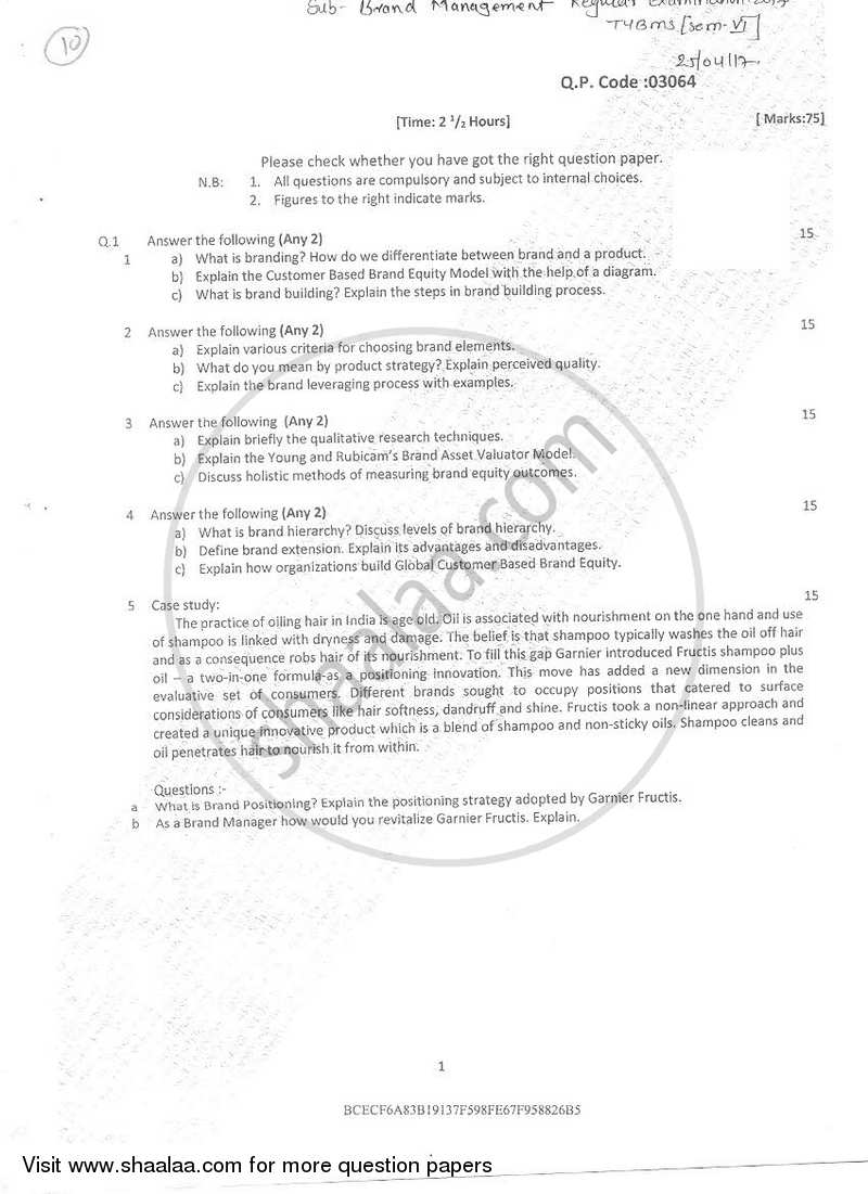 Brand Management 2016 2017 Bachelor Of Management Studies Bms Semester 6 Question Paper With Pdf Download Shaalaa Com
