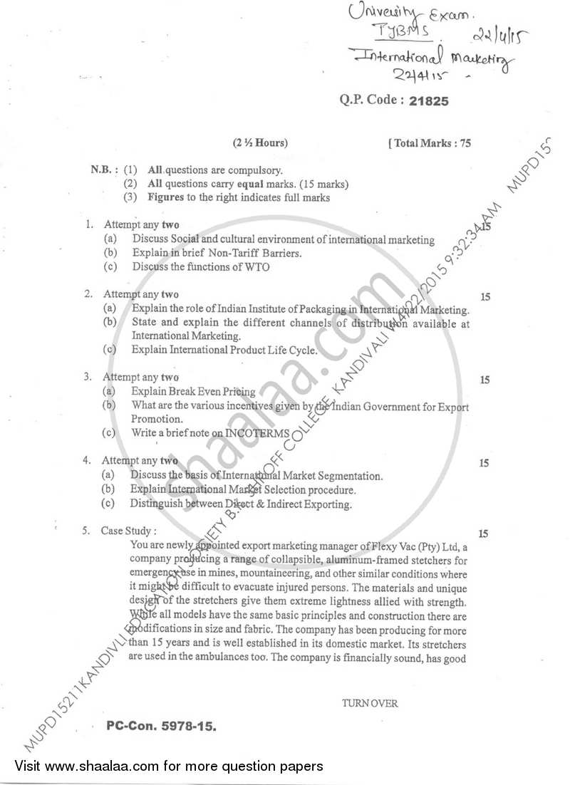 International Marketing 2 2014-2015 - B.M.S - Semester 6 - University of Mumbai question paper with PDF download