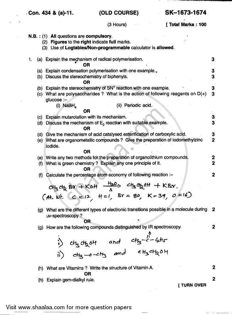 Organic Chemistry 2010-2011 - B.Sc. - Semester 5 (TYBSc) - University of Mumbai question paper with PDF download