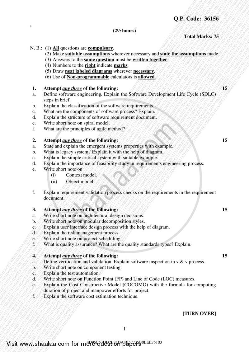 Software Engineering 2017 2018 B Sc It Information Technology Semester 4 Sybsc I T Set 2 75 25 Question Paper With Pdf Download Shaalaa Com