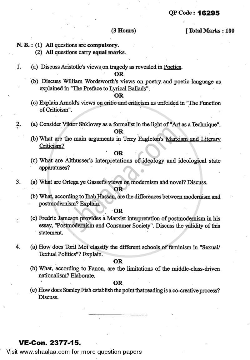 Literary Theory and Criticism 2014-2015 - M.A. - Part 2 - University of Mumbai question paper with PDF download