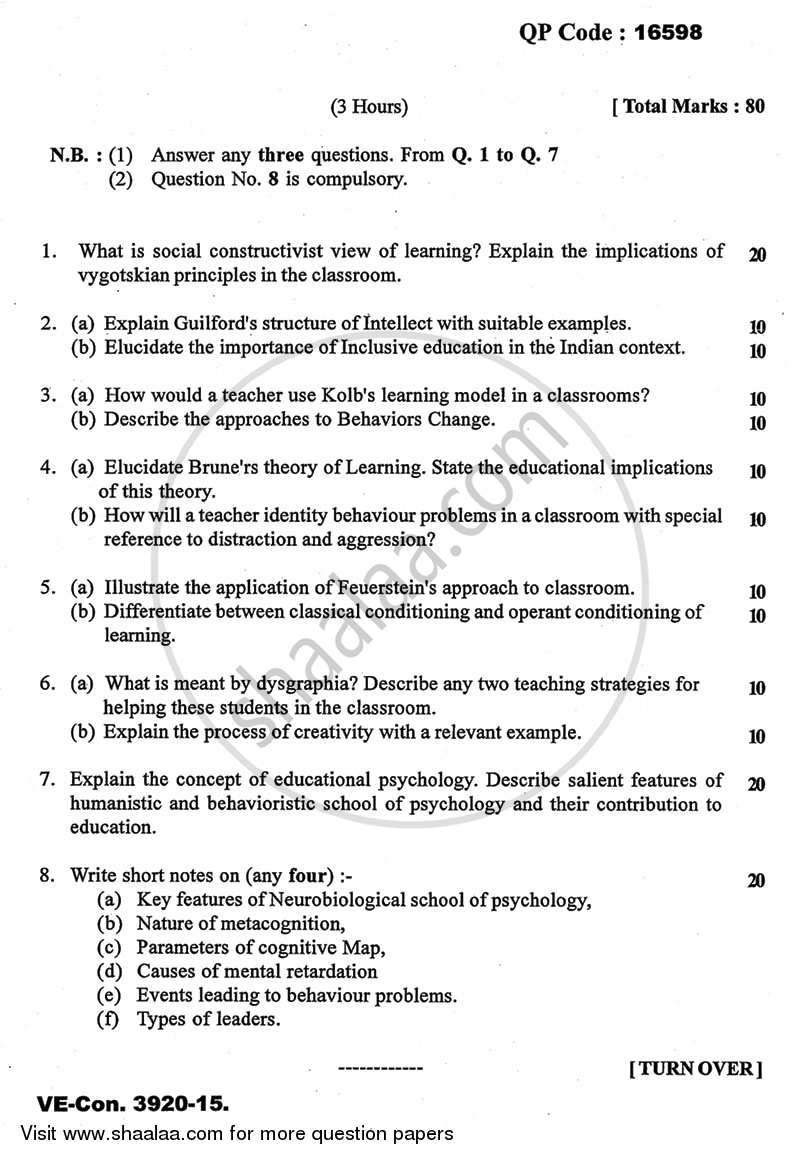 Advanced Educational Psychology 2014-2015 - M.A. - Part 1 - University of Mumbai question paper with PDF download