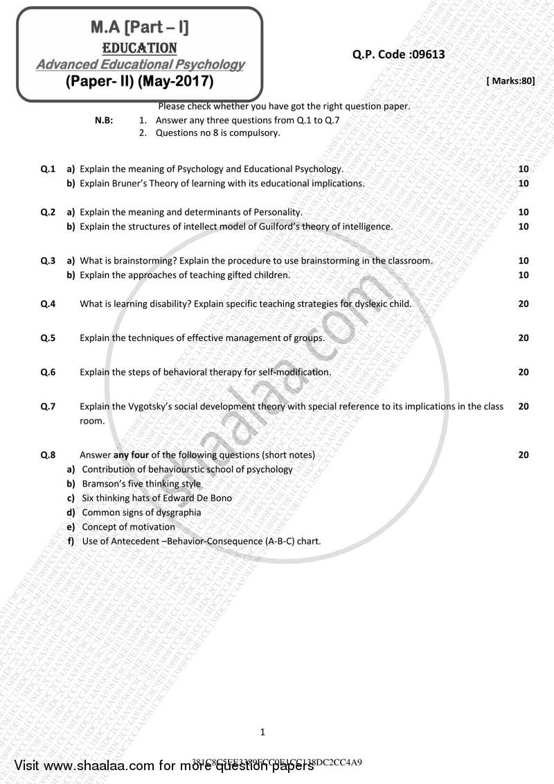 Question Paper - Advanced Educational Psychology 2016 - 2017 - M.A. - Part 1 - University of Mumbai