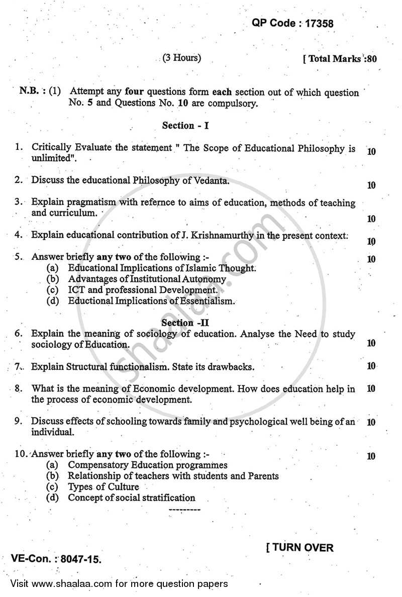 Question Paper - Advanced Philosophy and Sociology of Education 2014 - 2015 - M.A. - Part 1 - University of Mumbai