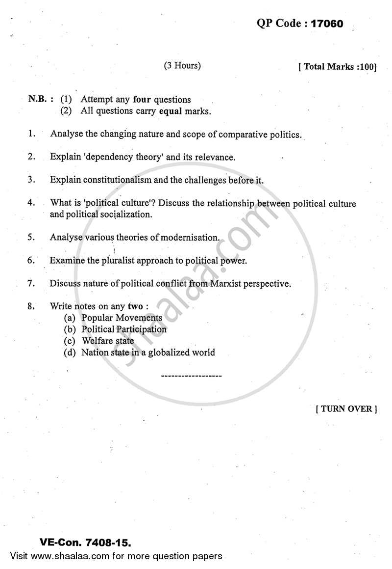 Question Paper - Comparative Political Analysis 2014 - 2015-M.A.-Part 2 University of Mumbai