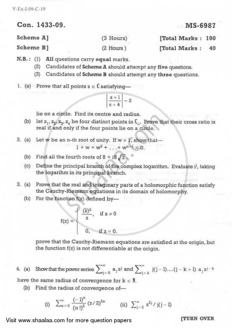 Question Paper - Complex Analysis 2008 - 2009 - M.A. - Part 1 - University of Mumbai