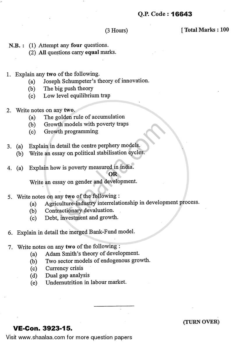 Question Paper - Development Economics 2014 - 2015 - M.A. - Part 2 - University of Mumbai