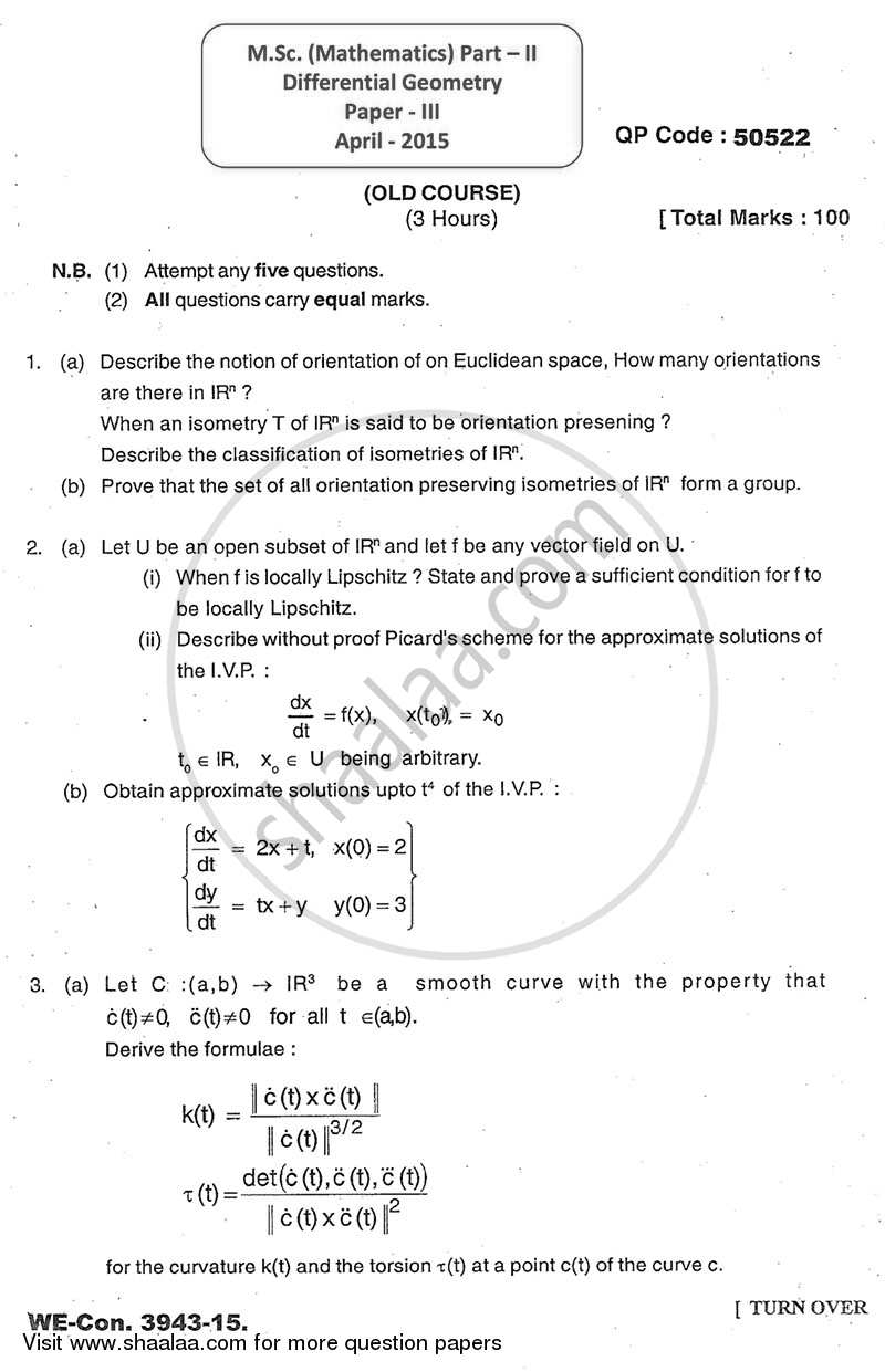 Differential Geometry 2014-2015 - M.A. - Part 2 - University of Mumbai question paper with PDF download