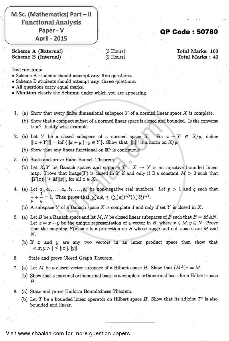 Question Paper - Functional Analysis 2014 - 2015 - M.A. - Part 2 - University of Mumbai