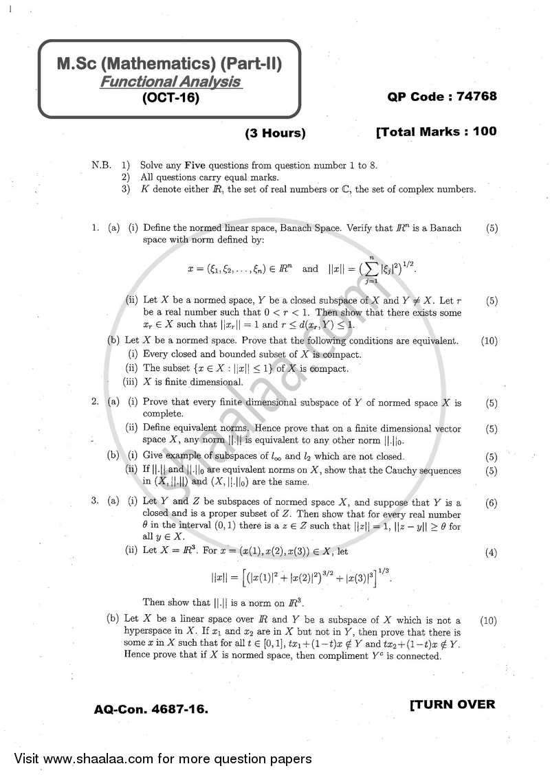Functional Analysis 2016-2017 - M.A. - Part 2 - University of Mumbai question paper with PDF download
