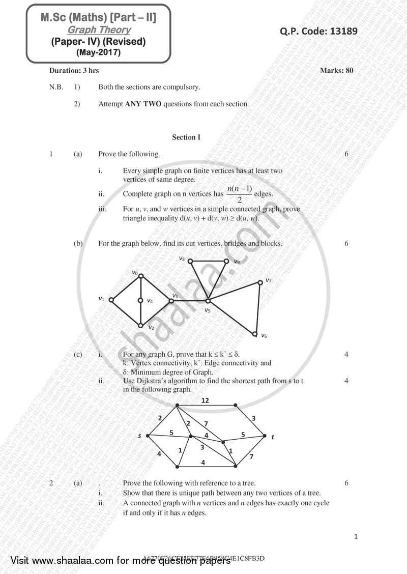 Graph Theory 2016-2017 - M.A. - Part 2 - University of Mumbai question paper with PDF download