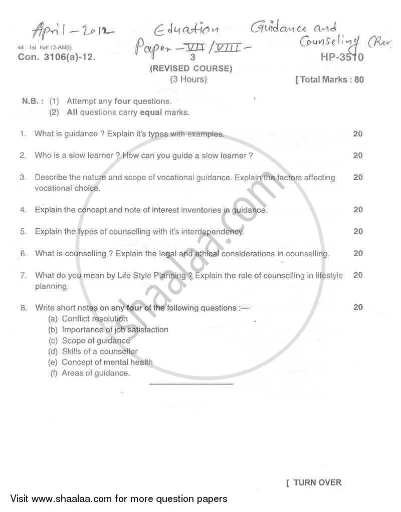 Question Paper - Guidance and Counseling 2011 - 2012 - M.A. - Part 2 - University of Mumbai