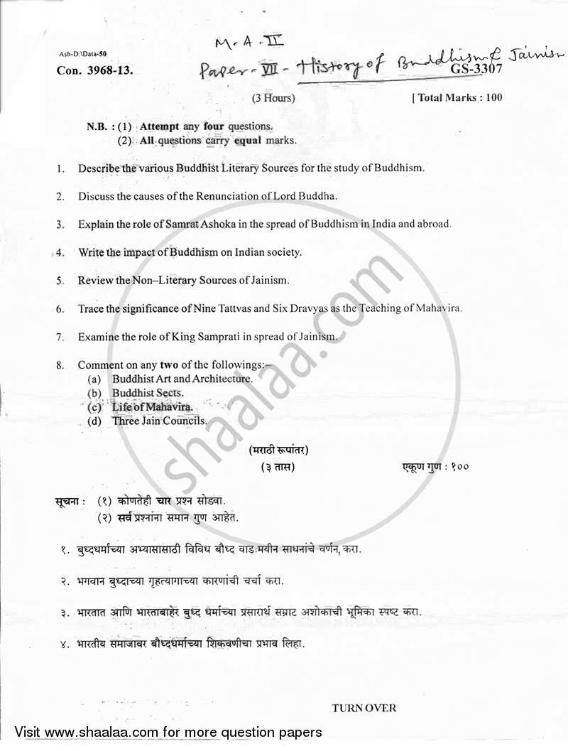 Question Paper - History of Buddhism and Jainism up to 1000 A.D. 2012 - 2013 - M.A. - Part 2 - University of Mumbai
