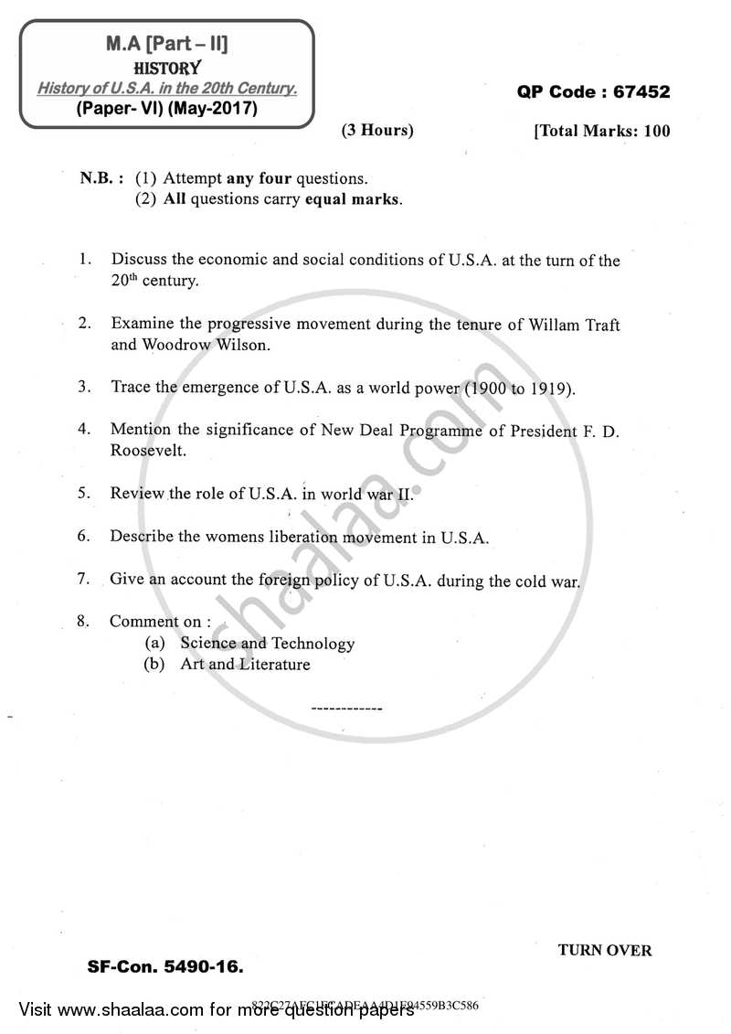 Question Paper - History of U.S.A. in the 20th Century 2016 - 2017 - M.A. - Part 2 - University of Mumbai