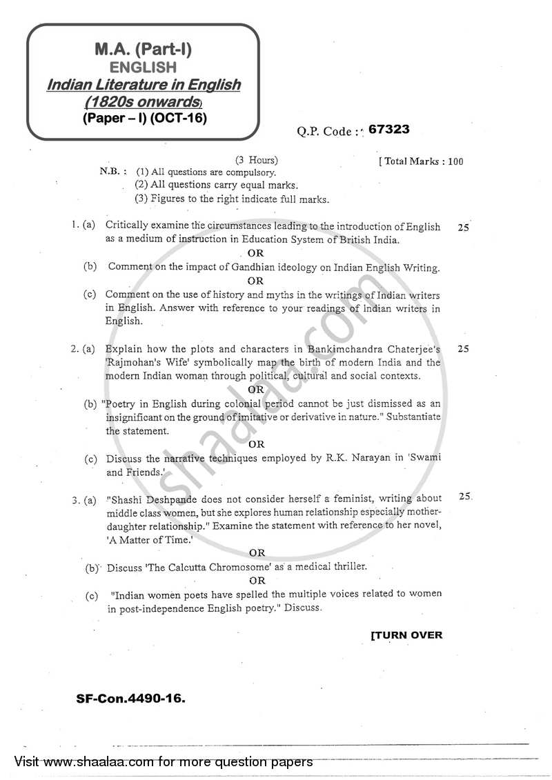 Question Paper - Indian Literature in English (1820s Onwards) 2016 - 2017 - M.A. - Part 1 - University of Mumbai
