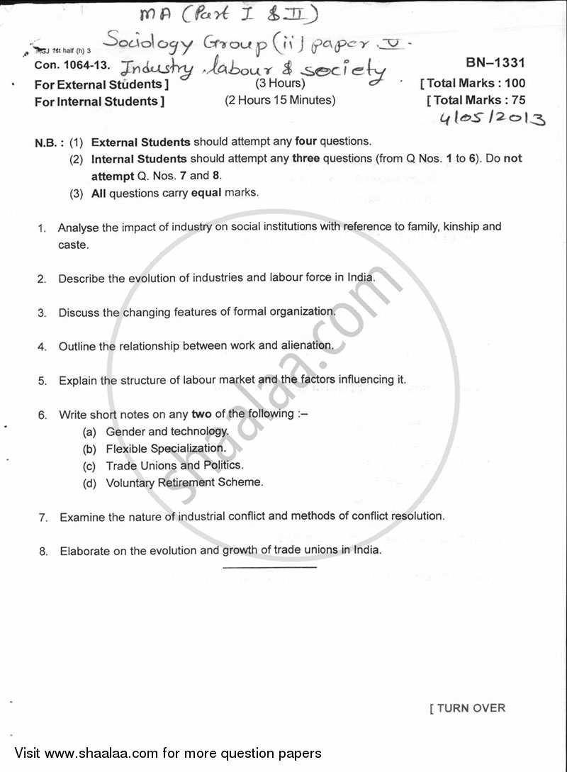 Question Paper - Industry Labour and Society 2012 - 2013 - M.A. - Part 2 - University of Mumbai