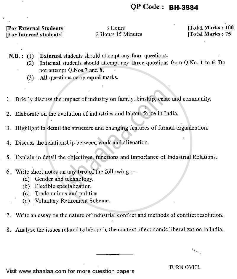Question Paper - Industry Labour and Society 2013 - 2014 - M.A. - Part 2 - University of Mumbai