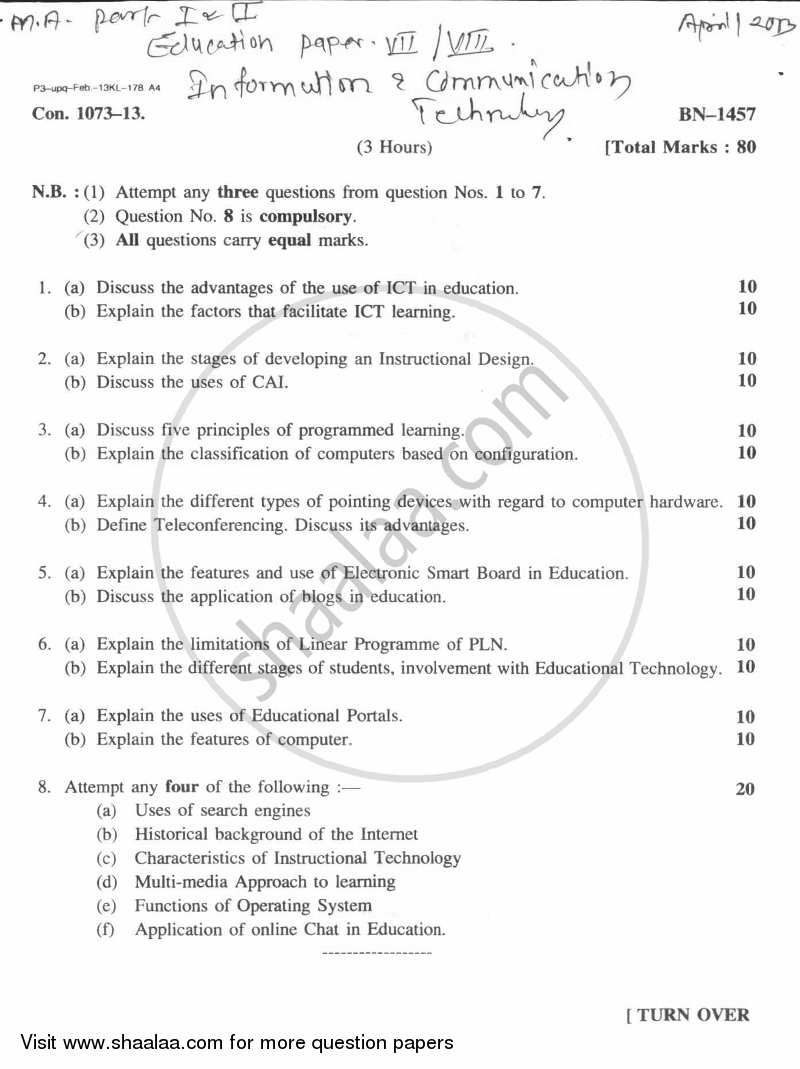 question paper information and communication technology  question paper information and communication technology 2012 2013 m a part 2