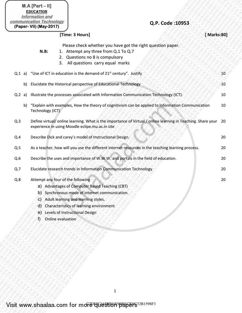 Question Paper - Information and Communication Technology 2016 - 2017 - M.A. - Part 2 - University of Mumbai