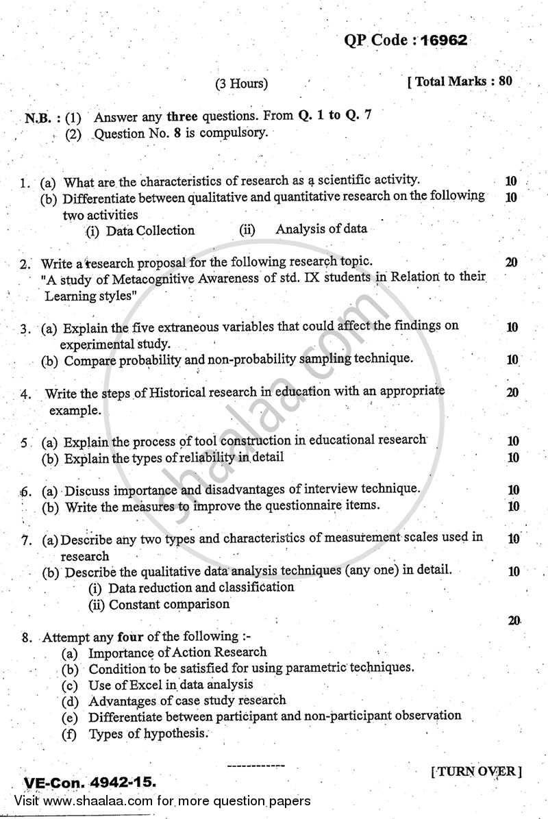 Question Paper - Research Methodology in Education 2014 - 2015 - M.A. - Part 1 - University of Mumbai