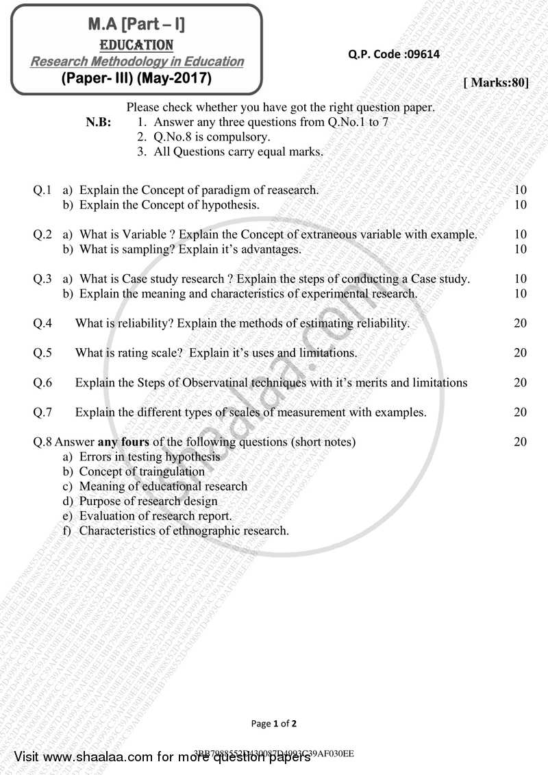 Research Methodology in Education 2016-2017 - M.A. - Part 1 - University of Mumbai question paper with PDF download