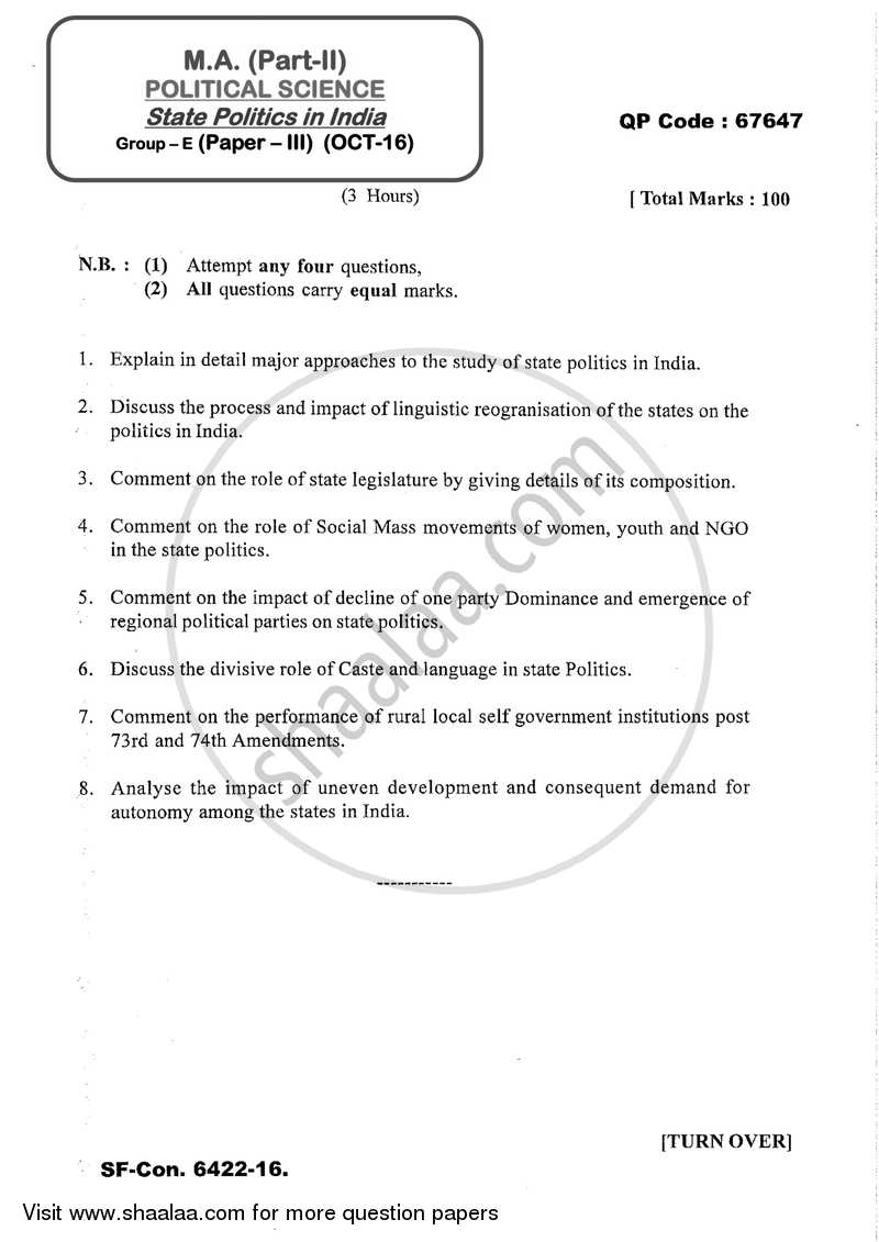 Question Paper - State Politics in India 2016 - 2017 - M.A. - Part 2 - University of Mumbai