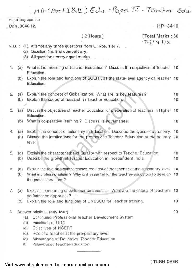 Question Paper - Teacher Education 2010 - 2011 - M.A. - Part 1 - University of Mumbai