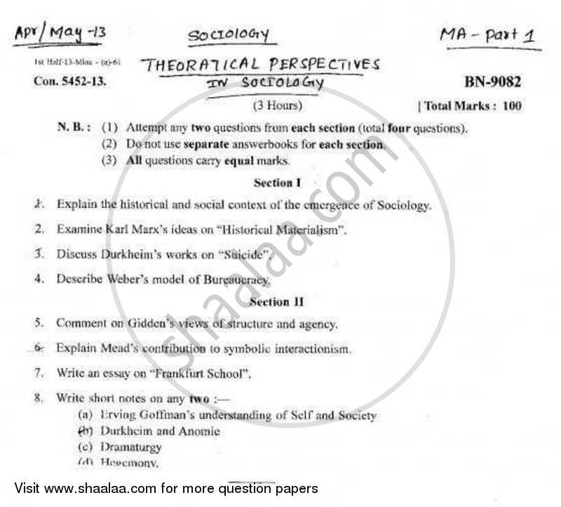 Question Paper - Theoretical Perspectives of Sociology 2012 - 2013 - M.A. - Part 1 - University of Mumbai