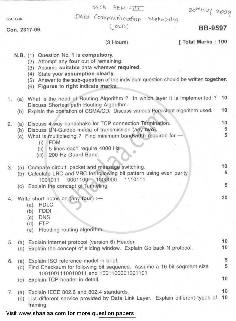 Data Communication Networks 2008-2009 - M.C.A. - Semester 3 - University of Mumbai question paper with PDF download