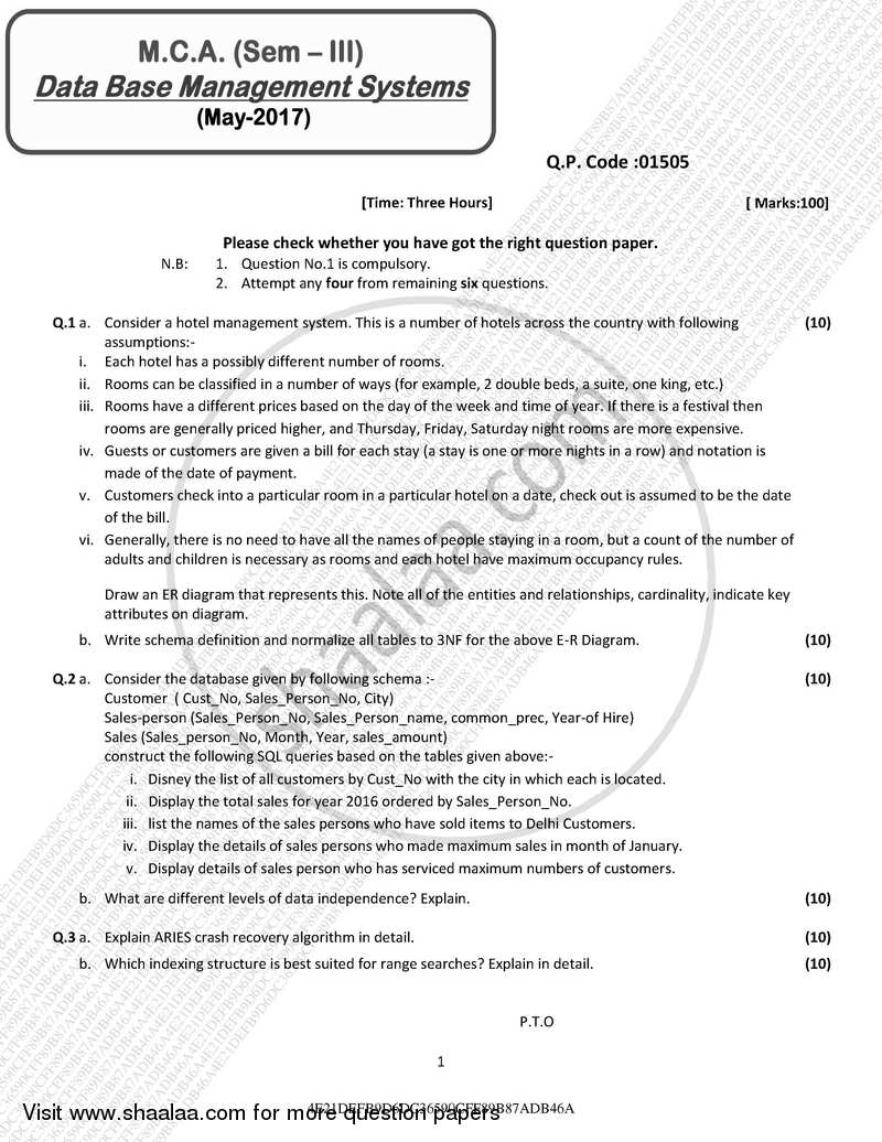 Question Paper - Database management System 2016 - 2017 - M.C.A. - Semester 3 - University of Mumbai