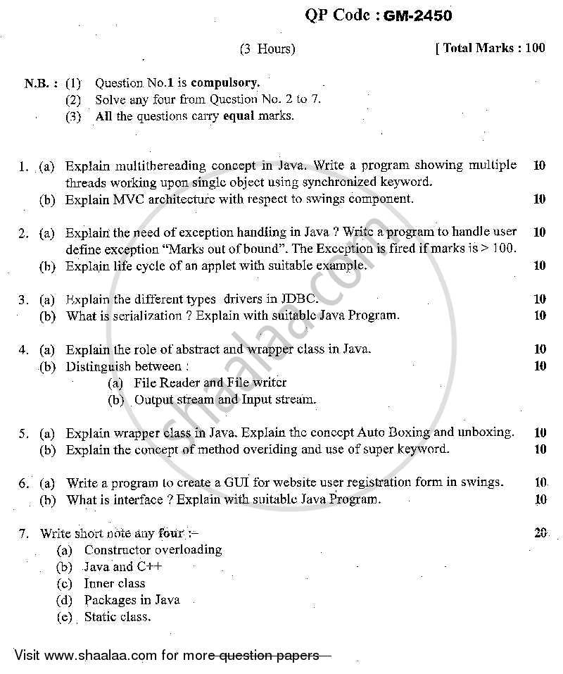 Java Programming 2013-2014 - M.C.A. - Semester 4 - University of Mumbai question paper with PDF download