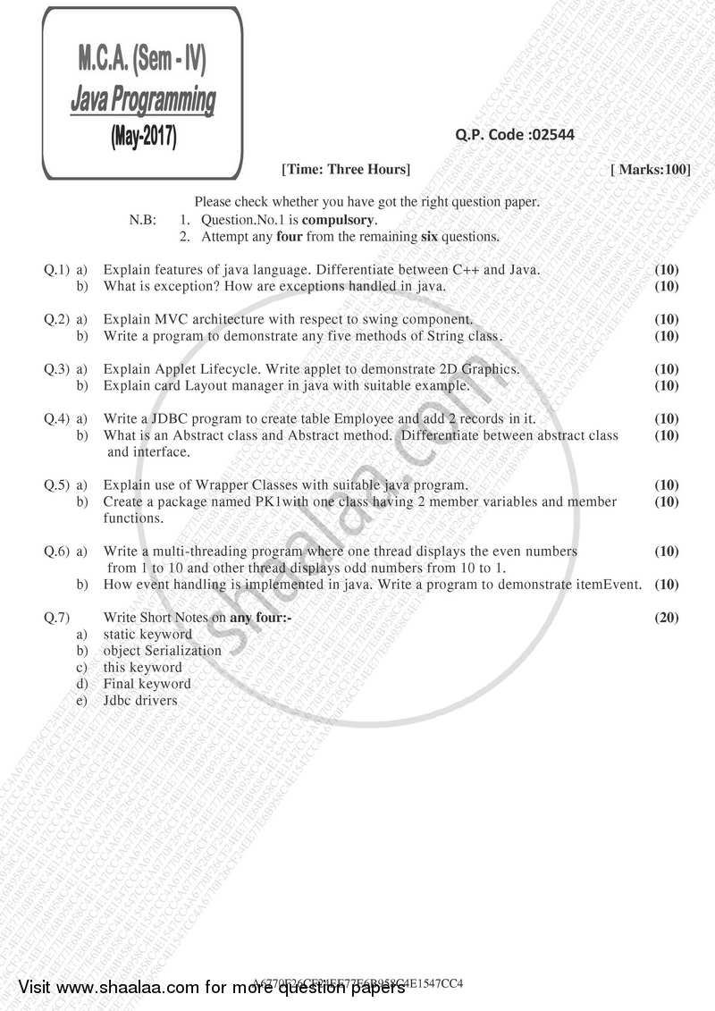 Java Programming 2016-2017 Master of Computer Applications