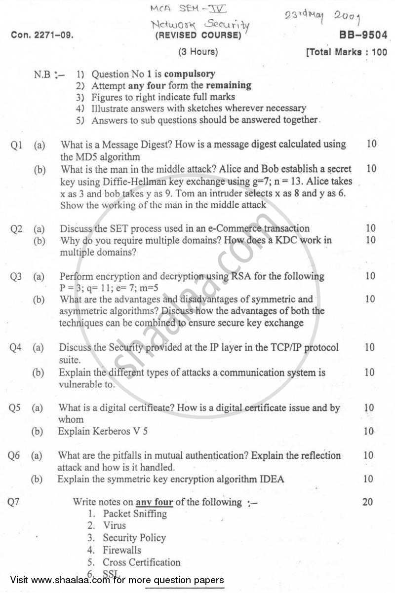 Question Paper Network Security 2008 2009 Master Of Computer