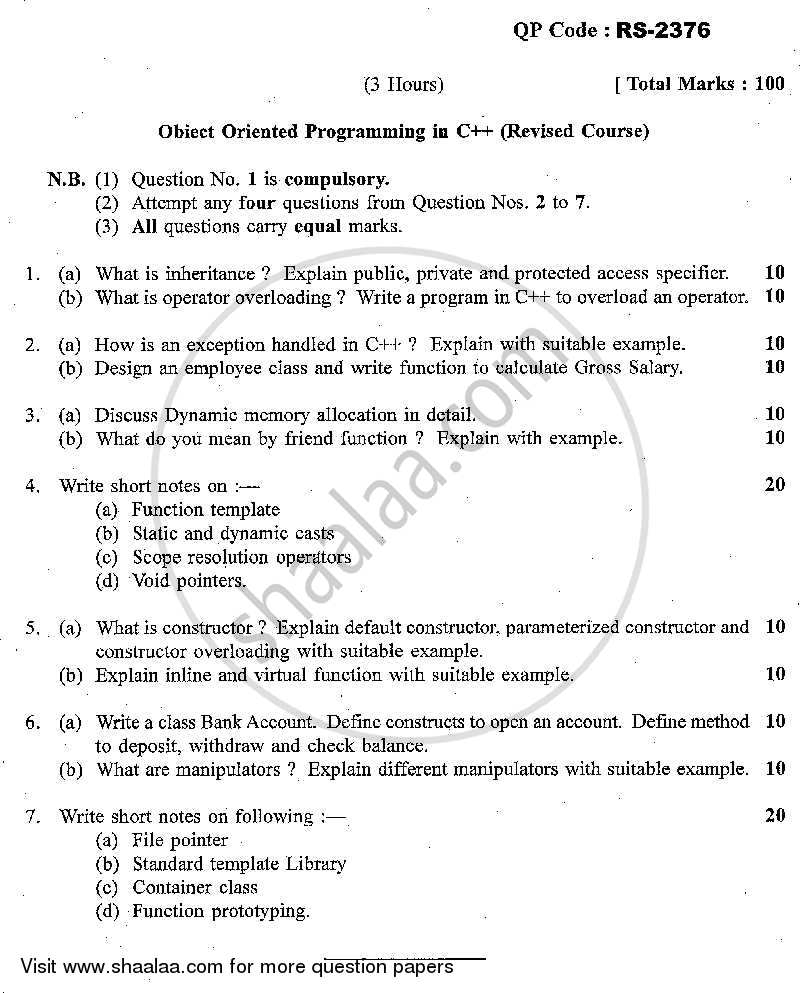 Question Paper - Object Oriented Programming C++ 2013 - 2014 - M.C.A. - Semester 3 - University of Mumbai