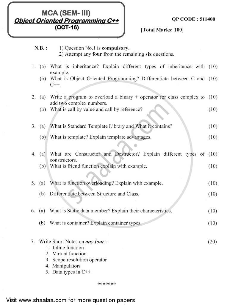 Question Paper - Object Oriented Programming C++ 2016 - 2017 - M.C.A. - Semester 3 - University of Mumbai